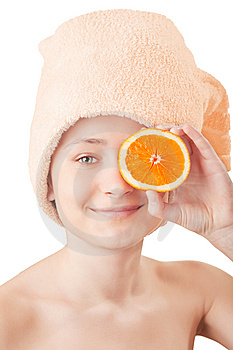 Pretty Young Girl With A An Orange Stock Image - Image: 8660181