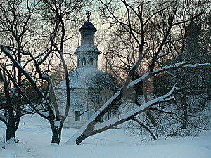 Trees In The Background Of The Church Stock Photography - Image: 8660532