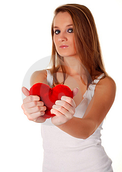 Woman And Artificial Red Heart Stock Photo - Image: 8661080