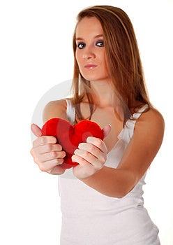 Donna E Cuore Rosso Artificiale Fotografia Stock - Immagine: 8661080