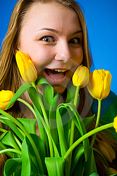 The Beautiful Girl With Tulips Royalty Free Stock Photo - Image: 8661135