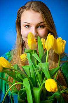The Beautiful Girl With Tulips Royalty Free Stock Photography - Image: 8661157