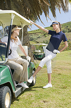 Beautiful Golf Players Talking During A Golf Play Stock Image - Image: 8661341