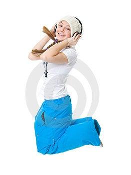 新女孩的耳机 库存图片 - 图片: 8661394