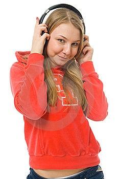 La Chica Joven Con Auriculares Imagen de archivo libre de regalías - Imagen: 8661426