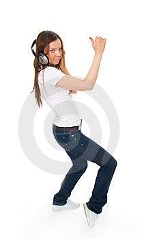 La Chica Joven Con Auriculares Imagen de archivo libre de regalías - Imagen: 8661436
