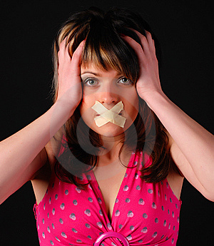 Woman With Cross On Her Mouth Royalty Free Stock Photos - Image: 8662028