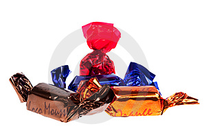 Praline In Foil Isolated Stock Image - Image: 8662191