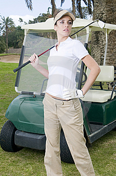 Beautiful Golf Player With Her Bogey Royalty Free Stock Photography - Image: 8662217