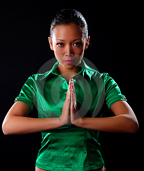 Woman In Green Shirt Stock Image - Image: 8662331