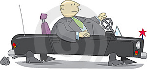 Fat Businessman In Cabriolet Car Stock Photo - Image: 8662410