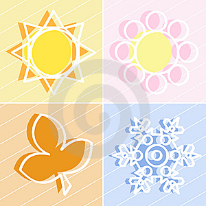 Four Seasons Icons Royalty Free Stock Photography - Image: 8662647