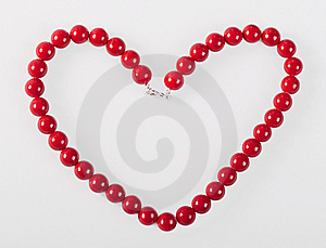 Heart From Red Mardi Gras Beads Royalty Free Stock Photo - Image: 8663145