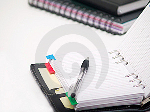 Office Stationary - Pen And Diary On White Royalty Free Stock Image - Image: 8663526