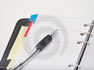 Office Stationary - Pen And Diary On White Royalty Free Stock Images - Image: 8663579
