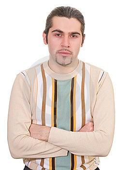 Junger Ernster Hübscher Mann In Der Strickjacke Lokalisiert Lizenzfreie Stockbilder - Bild: 8663909