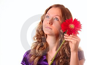 Girl And Red Flower Stock Photo - Image: 8664200