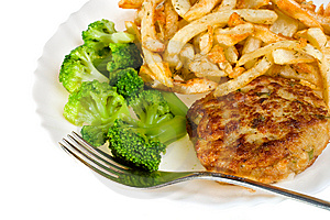 Close-up Cutlet With Broccoli And Potatoes Royalty Free Stock Photography - Image: 8665097