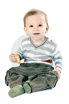 Little Boy In Strip Pullover Stock Image - Image: 8665121