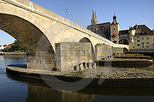 A Panorama To German Town Regensburg Stock Images - Image: 8665154