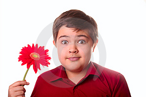 Teenager And Red Flower Royalty Free Stock Images - Image: 8665259