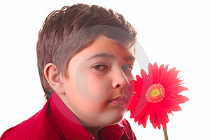 Teenager And Red Flower Royalty Free Stock Images - Image: 8665269