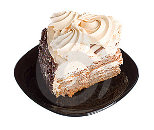 Piece Of Cake On Black Plate Royalty Free Stock Images - Image: 8665459
