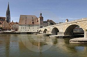 Tysk Panorama Regensburg Till Townen Fotografering för Bildbyråer - Bild: 8665491