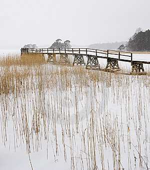 Old Bridge On Winter Lake Royalty Free Stock Photos - Image: 8666088