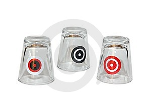 Three Shot Glasses With Targets On Them Stock Photography - Image: 8666772