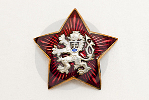 Old Czechoslovakia National Symbol In Red Star Royalty Free Stock Images - Image: 8666909
