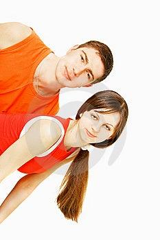 Junge Paare über Weiß Stockfotografie - Bild: 8667192