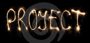 Word Project Written Sparkler Stock Photos - Image: 8667513