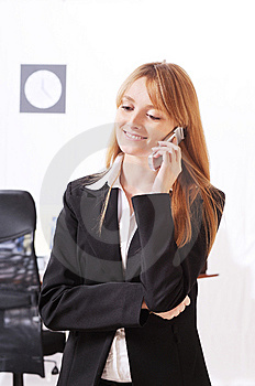 Businesswoman Uses Telephon Royalty Free Stock Image - Image: 8667606
