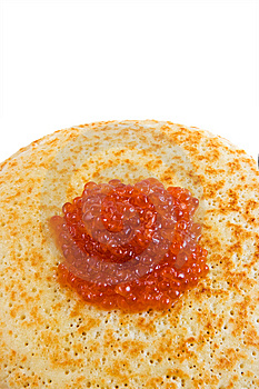 Pancakes With Red Caviar (top View) Royalty Free Stock Photography - Image: 8669267