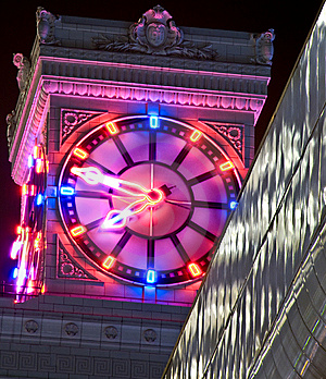 Neon Clock At Night Royalty Free Stock Image - Image: 8670476