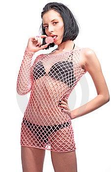 Beauty Woman Lick Pink Candy Stock Photo - Image: 8670990