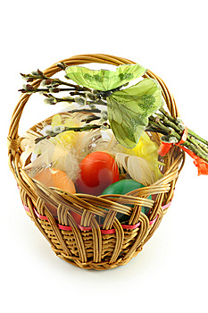 Easter Basket With Green Butterfly Royalty Free Stock Photography - Image: 8673217