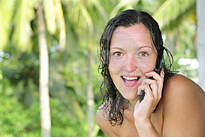 Beautiful Young Woman Talking On Cellphone Stock Images - Image: 8675134