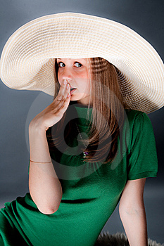 Nice Girl In A Big Straw Hat Royalty Free Stock Photography - Image: 8677787