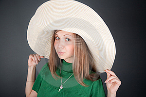 Nice Girl In A Big Straw Hat Stock Photo - Image: 8677820