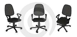 Three Office Chairs Over White Royalty Free Stock Photography - Image: 8679337