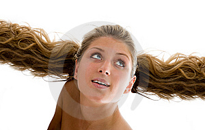 The Beautiful Girl Flies On Hair Stock Images - Image: 8679884