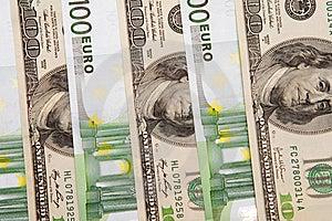 100 Euro An Dollar Banknotes Stock Photography - Image: 8680262