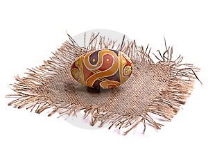 Colorful Easter Egg On The Napkin, Isolated. Stock Image - Image: 8680851