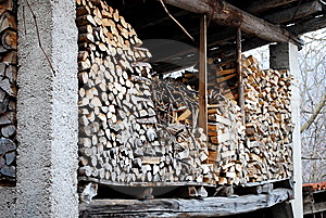 Stacked Logs In The Attic Stock Images - Image: 8681964