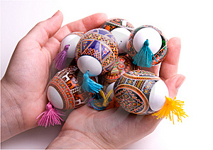 Colorful Easter Eggs In Palms, Isolated. Stock Photography - Image: 8683932