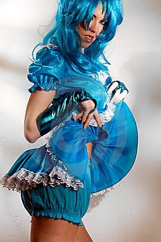 Blue Dress And Wig Royalty Free Stock Photo - Image: 8684365