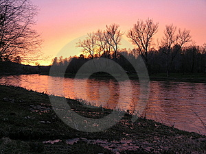 Sunset Above The River. Royalty Free Stock Images - Image: 8686889