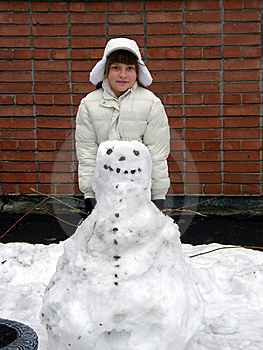 Girl And Snowman Stock Photography - Image: 8687312